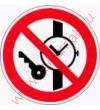 Р 27  Запрещается иметь при себе (на себе) металлические предметы (часы и т.п.)